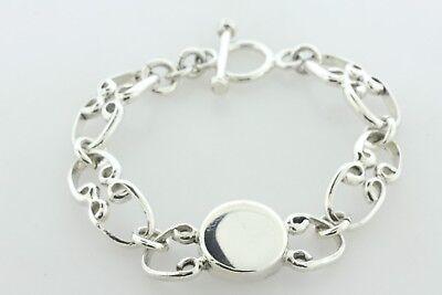 Sterling Silver Interlocking Horseshoe Vine Link Engravable Signet Bracelet 7