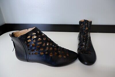 house of harlow 1960 New Black Leather Flat Ankle Boots Size 37.5 Uk 4.5 Bnwob