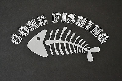 19cm FUNNY GONE FISHING FISH ANGLING CAR VAN STICKER DECAL OFF CENTRE DESIGN