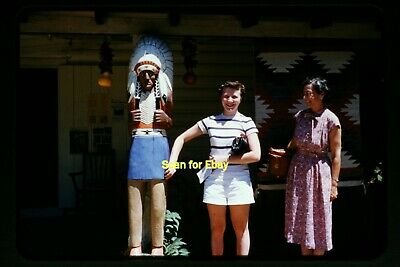 Young Woman w/ Wood Store Statue in 1950's, Original Slide aa (Young Women Stores)