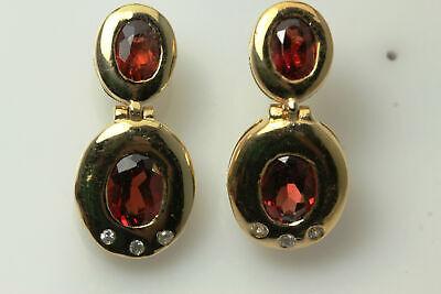 Gold Plated Oval Synthetic Garnet & CZ Post Back Earrings (EAR2959)