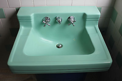 American Standard Bathroom Sink Ming Green vintage mid century Shelf Back