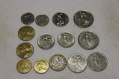 set of 14 different french coins
