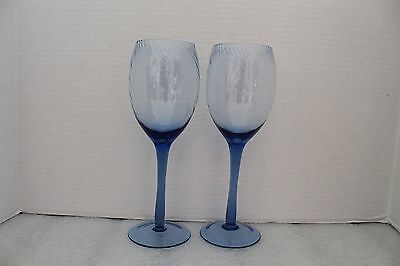 Hand Blown Blue Swirl Wine Glasses Set of 2