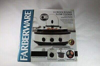 Farberware 3-crock Round 1.5qt. Oval Pot Slow Cooker / Warmer - w/ box