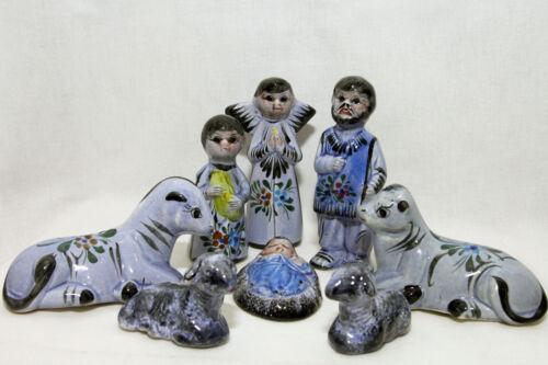 Vintage Mexican Folk Art Pottery Nativity Scene Creche 8 Pieces Set Blue Tonala?