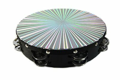 "NEW 10"" REFLECTIVE Tambourine Double Row Jingle Percussion Instrument Church"