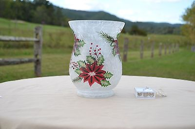 Holiday Frosted Glass Vase With Micro Lights By Valerie   Poinsettia