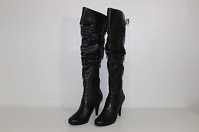 Preview International Womens 8.5 M Black Leather Soft Sided Knee High Heel Boots