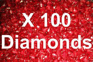 100  Lego Translucent Red Diamond Gems Jewels City Pirate Castle with stick