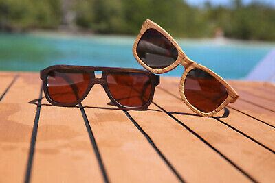 Polarized Wooden Vintage Sunglasses - PilotVintage - 100% UVA + UVB (100 Uva Uvb Sunglasses)