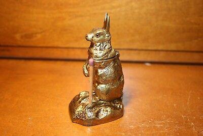 Figural Bronze RABBIT Match Holder Vesta Safe Dispenser 1870s Go To Bed England