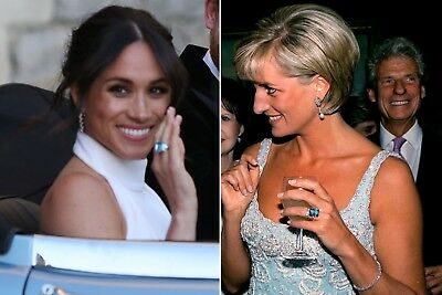 - Meghan Markle Princess Diana Replica  Aquamarine Ring with Small Diamonds #134