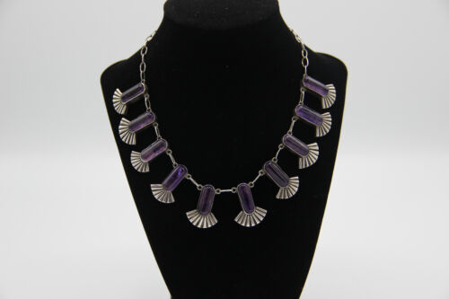 Vintage Mexican Silver Amethyst Art Deco Aztec Fan Necklace