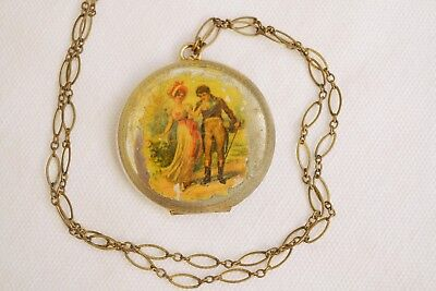 Antique Vintage Locket Necklace Compact Painted Pastoral Couple Scene Mirror