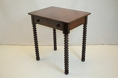 Antique American Victorian Side Console Hall Work Table w/ Drawer on Bobin Legs