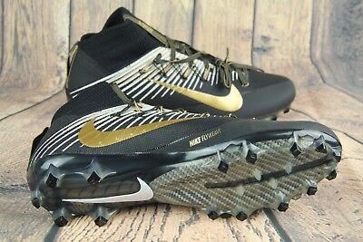 sports shoes dd2c4 f5766 Nike Vapor Untouchable 2 Football Cleats Black Gold White 835646-020 Mens  SZ 12