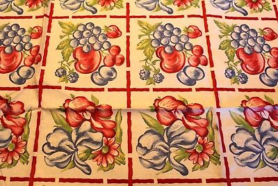 VINTAGE Kitchen TABLECLOTH 1940'S  43 x 49  DeadStock Floral Fruit Strawberry