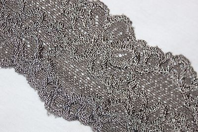 Floral Scallop - $1 yard scalloped GRAY Floral galloon STRETCH lingerie Headband lace 2.5