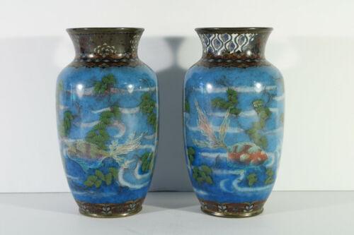 "Japanese Meiji Period Cloisonne Pair 7.25"" Vases w/ Ginbari Fish Sea Plants"