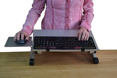 WorkEZ Keyboard Tray adjustable height angle negative tilt sit stand up riser - Stand Adjustable Keyboard Tray