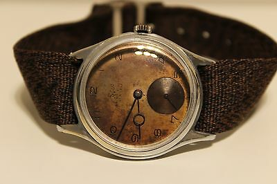 Vintage Rare Ww2 Military Sub Second Swiss Mens Watch Felco  15 J Brown Dial