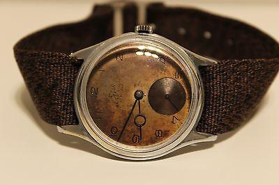 Vintage Rare Ww2 Military Sub Second Swiss Mens Watch Felco  15 J Brown Dial