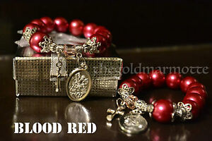 Elegant-Synthetic-Pearl-Rosary-Bracelet-Blood-Red