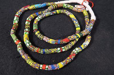 Alte Millefiori Glasperlen 85cm Old Venetian Vintage African trade beads Afrozip
