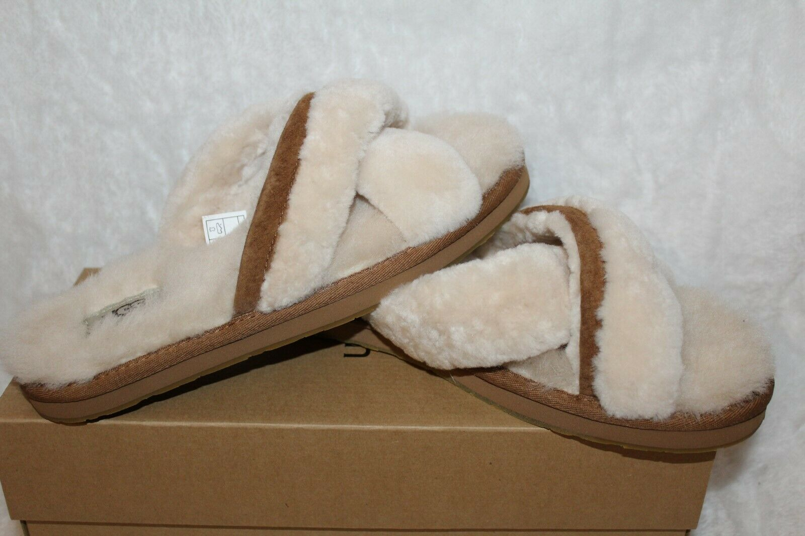 NEW Authentic UGG Womens Abela Soft Fluffy Slide Slippers Shoes Natural  1