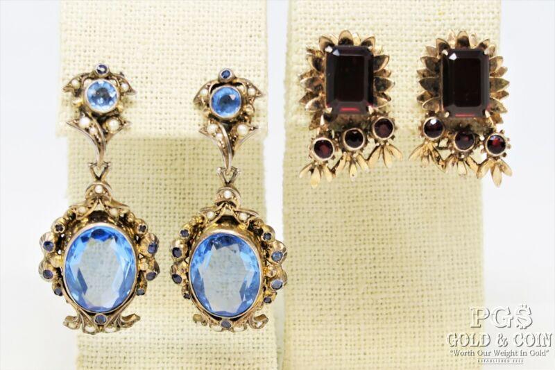 European 800 Silver Art Deco Topaz, Sterling Silver Garnet Earrings 37.8gr 21908