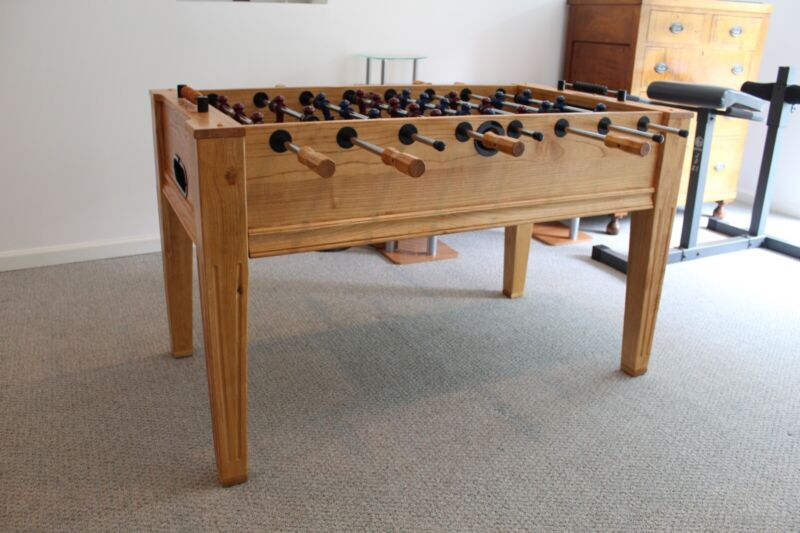 Solid Oak Fat Cat Foosball Table (Barely Used!)