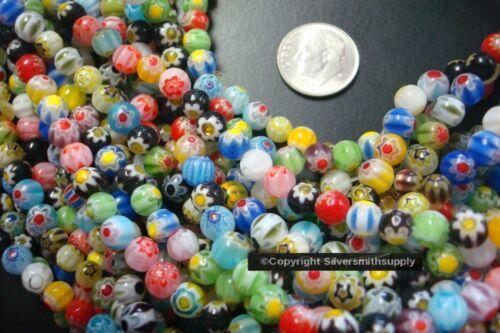 60+ Millefiori glass lampwork beads 5-6mm art glass rounds assortd colors GBS020