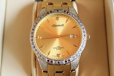 Beautiful Ingersoll Gold Gems Mens Watch  Model : iG0112 Gold Plated Strap - NEW