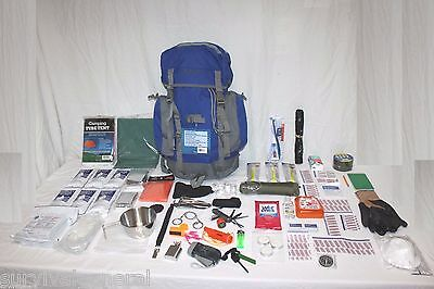 72 Hour Survival Kit Food Water Backpack Bug Out Bag Doomsday Zombie 3 Day SHTF