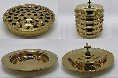 Brasstone  5 Stainless Steel Communion Trays With 1 Lid And 3 Bread Tray Set