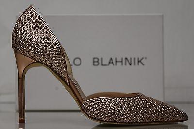 New Manolo Blahnik Tayler Pink Rose Gold Metallic Pump Dorsay Shoes 40.5 Metallic Dorsay Pump