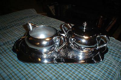 Chrome/Stainless Sugar Bowl Creamer Tray 4 Piece Set