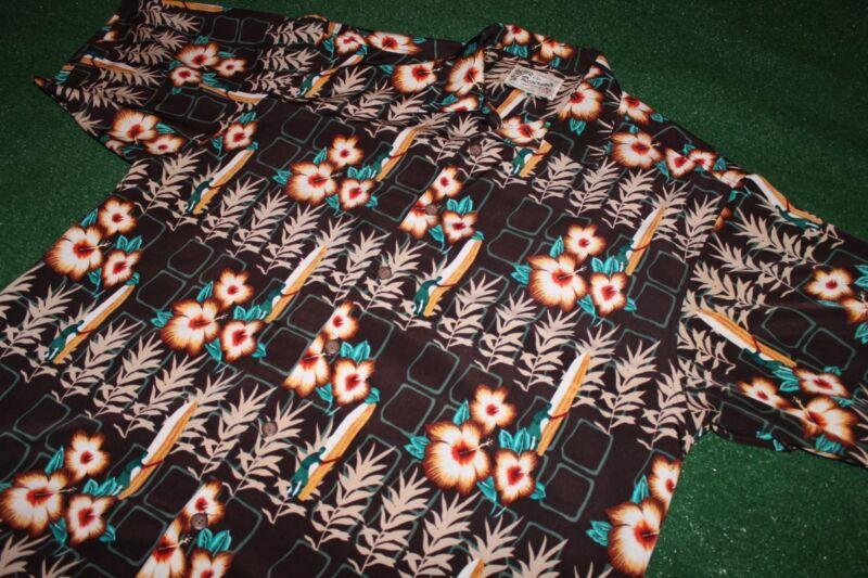 Very Nice~Reservoir Hawaiian Shirt~Surfer w/Board & Flower Button Down Dress vtg