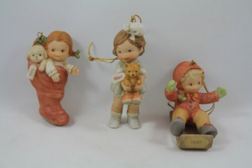 Enesco Lucie Attwell Memories of Yesterday 1989, 1990, 1991 Ornaments, Lot of 3