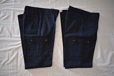 Lot Of 2 Mens Aramark Uniform Cargo Work Pants In Navy  Size 30