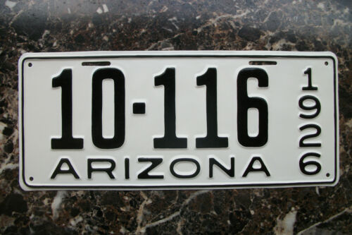 VINTAGE 1926 ARIZONA LICENSE PLATE, MOHAVE COUNTY, NICELY REPAINTED, LOW NUMBER.