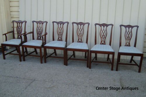 60892 Set of 6 Quality Solid Mahogany Dining Room Chairs