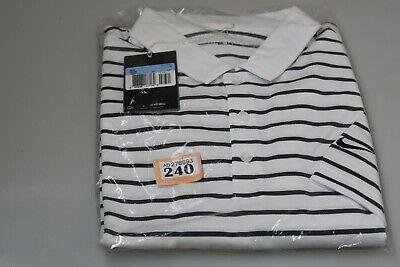 Mens Nike Golf Dri-Fit Polo Shirt Standard Fit White w stripes M (O tag240)