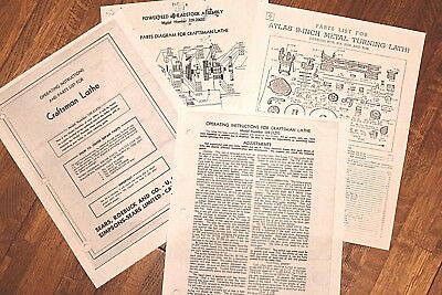 Craftsman 109 Metal Lathe Manual Maintenance Parts 25 Pages Of Info