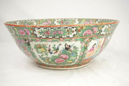 Chinese Export Rose Medallion Punch Bowl 19th C Massive 14 1/2 Inch Diameter