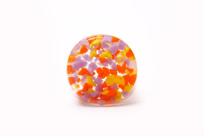 Yellow Transparent Ring - Funky Large Transparent Ring w Yellow,Orange&Violet Inside Details(T283)