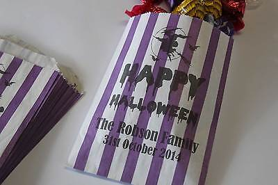 Halloween Sweet Bags Purple & White Striped Personalised Candy Bags Treat - Halloween Treat Bags Personalized
