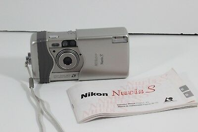 Nikon Nuvis-S Point and Shoot APS Film Camera Silver 22.5-66mm MACRO ZOOM lens
