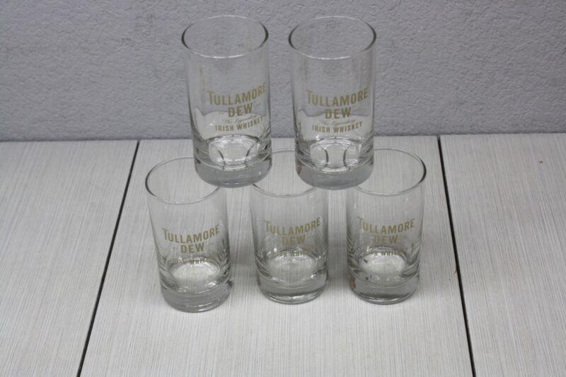 5x Tullamore Dew Irish Whiskey Half 1/2 Pint Drinking Glasses Gold Logo